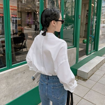 Long Sleeve Loose Shirts Back Hollow Out Sexy Long Blouses