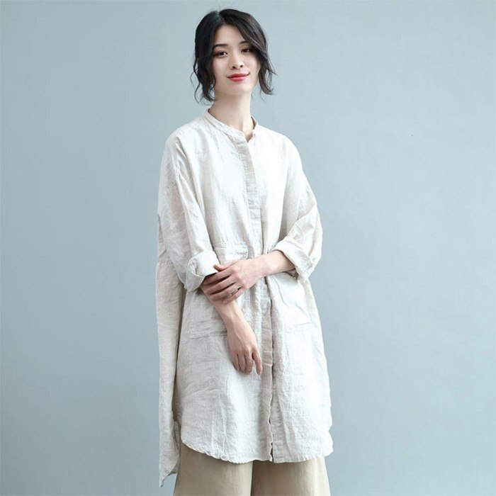 Stand Collar Loose Casual Long Shirt Double Pocket Cotton Linen Vintage Blouses