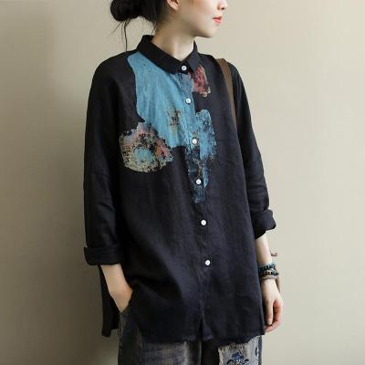 Long Sleeve Loose Vintage Print Cotton Linen Casual Tops