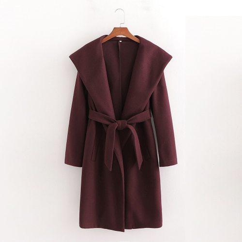 Coat Hooded Belted Long vintage Elegant  Casual windbreaker Outerwear
