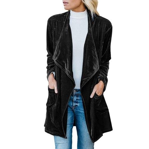Solid Color Velvet Coat Causal Lapel Women Cardigan Coats