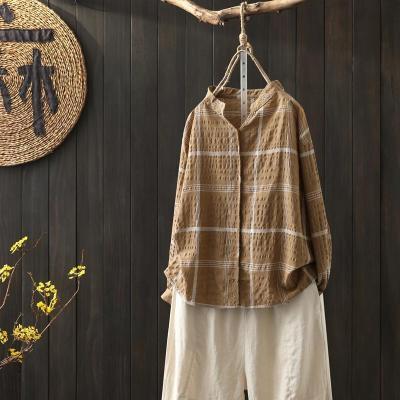 Long Sleeve Loose V-neck Shirts Vintage Cotton Linen Plaid Casual Blouses Tops