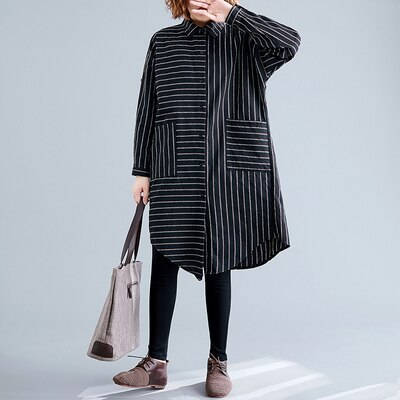 Loose Casual Long Blouses Double Pocket Cotton Striped Shirts