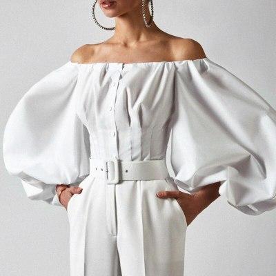 Elegant Bubble Lantern Sleeve Shoulder-missing Women's Cotton Blouse Shirts Top