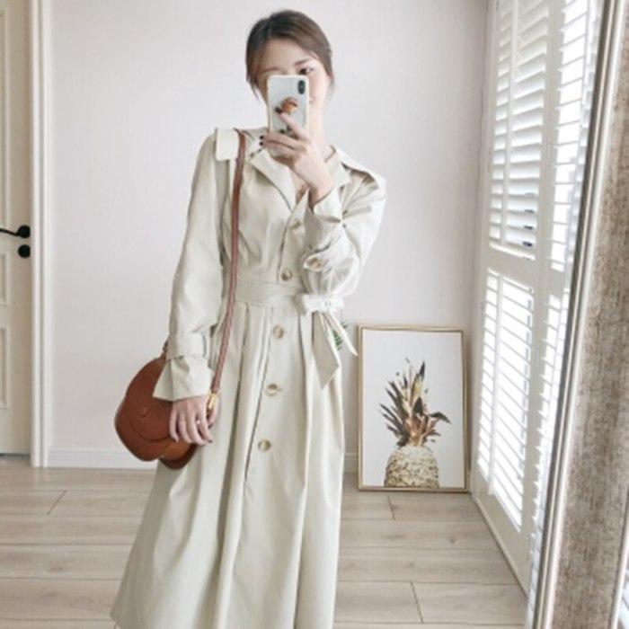 Long Women's Loose Trench Coat With Belt Windbreaker Outwear