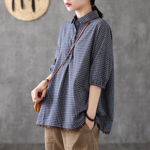 Women Short Sleeve Loose Shirts Cotton Linen Plaid Casual Blouses