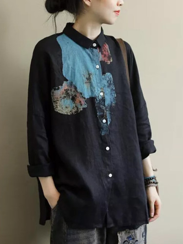 Long Sleeve Loose Vintage Print Cotton Linen Casual Tops