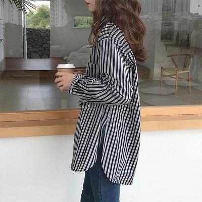 Long Sleeve Turn-down Collar Shirt Cotton Loose Casual Striped Korean Blouse