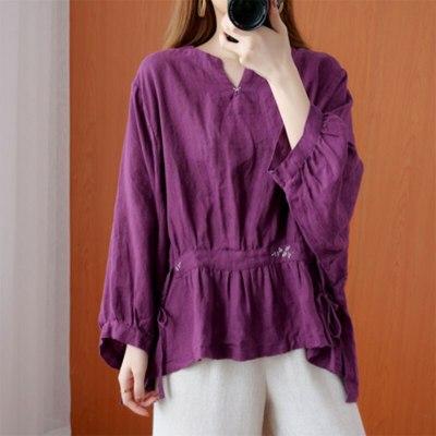 Loose Shirts Cotton Linen Embroidery Vintage V-neck Blouses Femme Tops