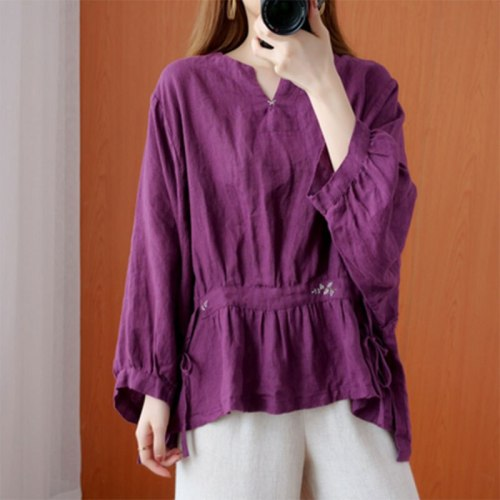 Loose Shirts Cotton Linen Embroidery Vintage V-neck Blouses Femme Tops