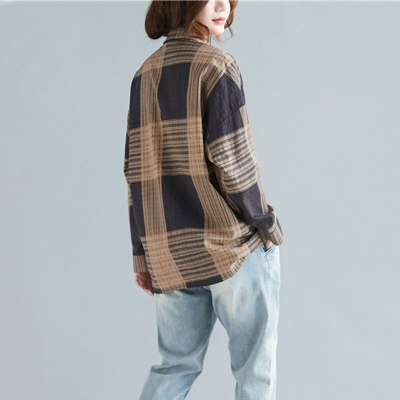 Spring New Arts Style Women Long Sleeve Turn-down Collar Loose Shirts Cotton Plaid Casual Blouses Femme Big Size Tops M542
