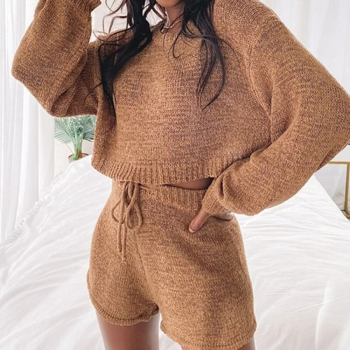 Sweater Two-piece Suit Autumn Winter Casual O Neck Long Sleeve Suits