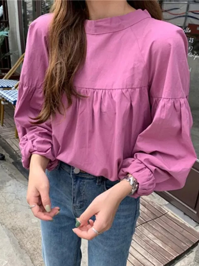 Long Sleeve O-neck Loose Casual Shirts Back Lacing Bow Ladies Tops