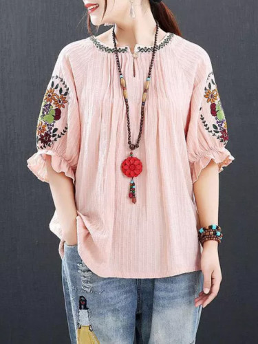 Floral Embroidery Loose Tee Shirt Femme Cotton Vintage Tshirt Tops