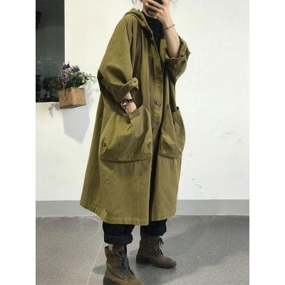 Loose Hooded Trench Coat All-matched Casual Single Breasted Long Trench Coat