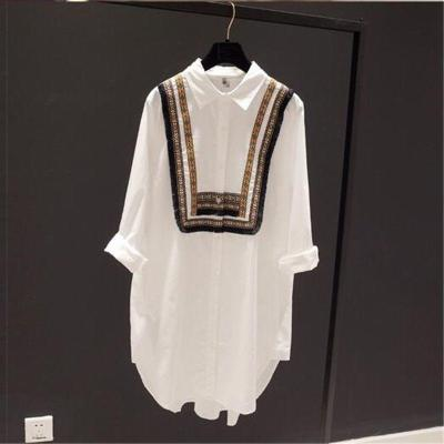 Patchwork Loose Casual Long Blouses Cotton   Shirt Ladies Tops