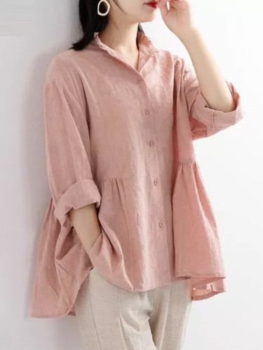 Fashion Women Long Sleeve Loose Yellow Shirts 100% Cotton