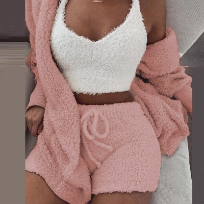Plush Casual Two Piece Set Lady Long Sleeve Hooded Cardigan Coat Shorts Suits