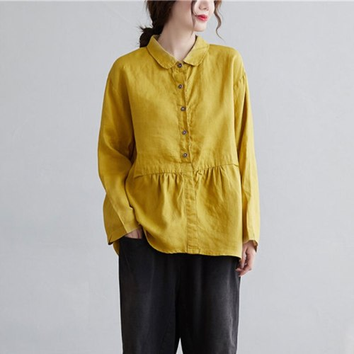 Women Turn-down Collar Loose Yellow Shirt All-matched Casual Cotton Linen Blouse