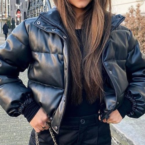 Black Short parkas PU Leather Jacket Ladies Solid Casual Outwear