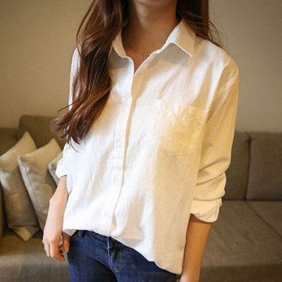 Casual Loose Women Turn-down  Blouse Long Sleeve Cotton Linen White Tops