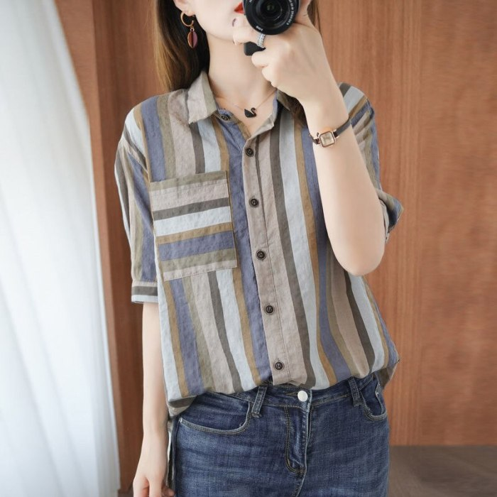 Short Sleeve Turn-down Collar Cotton Linen Striped Shirts Casual Loose Blouses