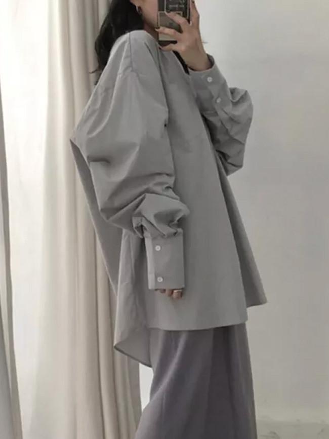 Lantern Sleeve O-neck Big Pocket Loose Vintage cotton Blouse Ladies