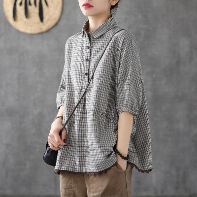 Women Short Sleeve Loose Shirts Cotton Linen Plaid Casual Blouses