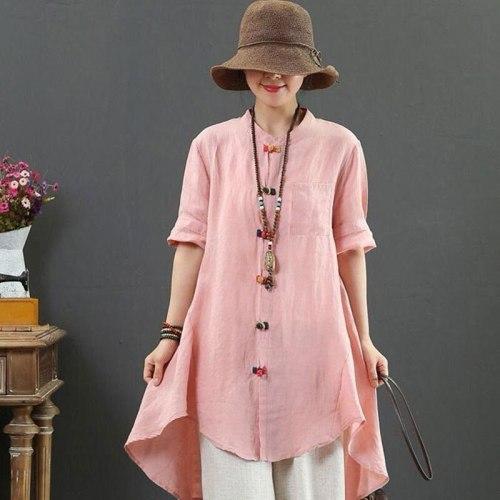 Short Sleeve Loose Colours Button Long Linen Tops Vintage Blouses
