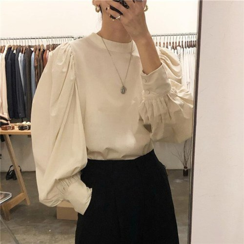 Lantern Sleeve O-neck Shirts Cotton Vintage Solid Korean Blouse Ladies Tops