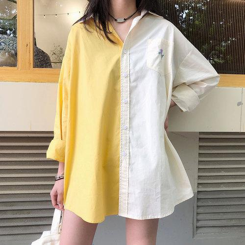 Loose Embroidery Patchwork Design Turn-down Collar Long Tops Cotton Female Blouses