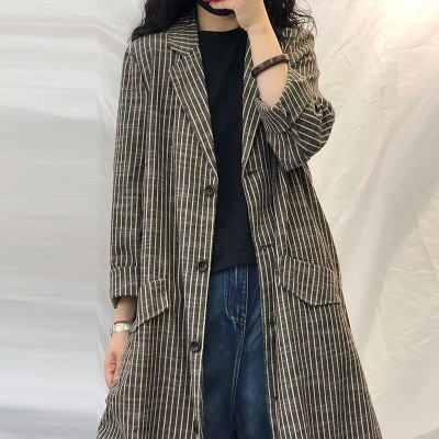 Loose Striped Long Trench Coat Single Breasted Cotton Linen Vintage Coats