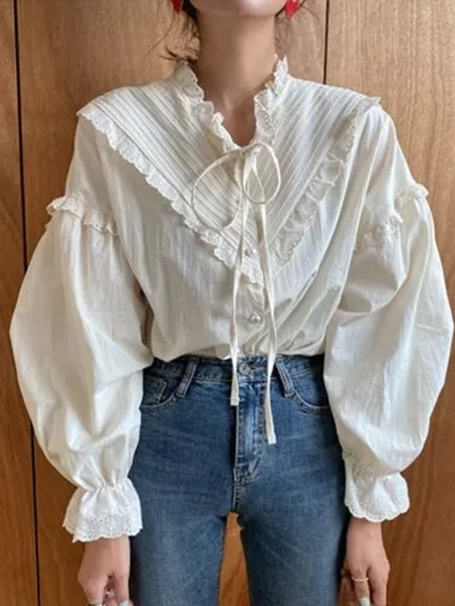 Fashion Puff Sleeve Loose Women Shirts Lace Patchwork Vintage Blouse