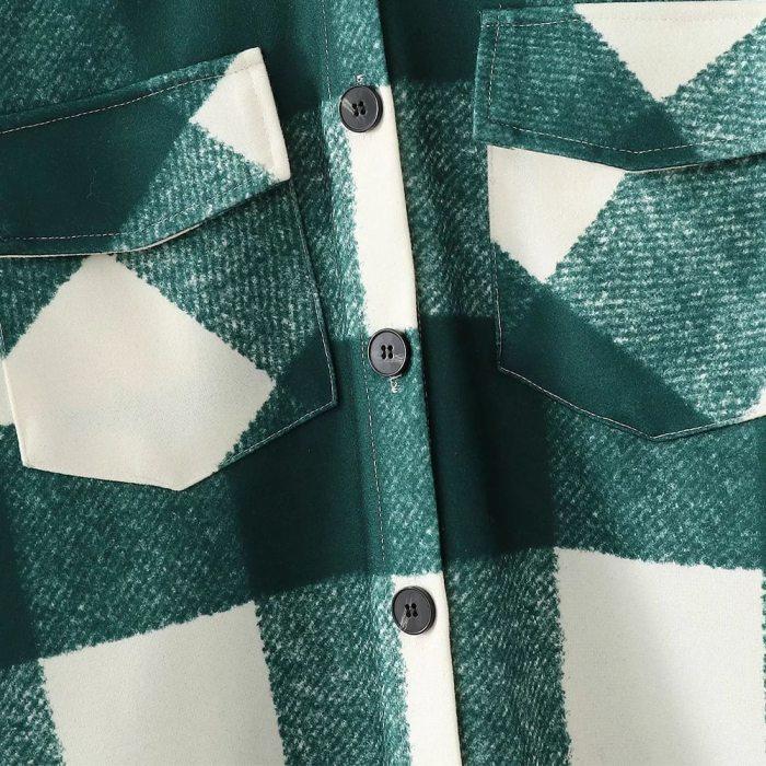 Long Checked Casual Fashion Chic Women Jackets Long windbreaker Outfits