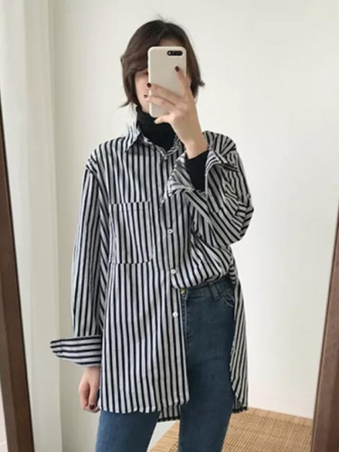 Long Sleeve Turn-down Collar Shirt Cotton Loose Casual Striped Korean Blouse