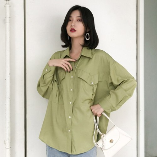 Women Long Sleeve Loose double pocket Casual Shirt