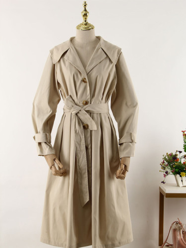 Long Women's Loose Trench Coat With Belt Windbreaker Outwear