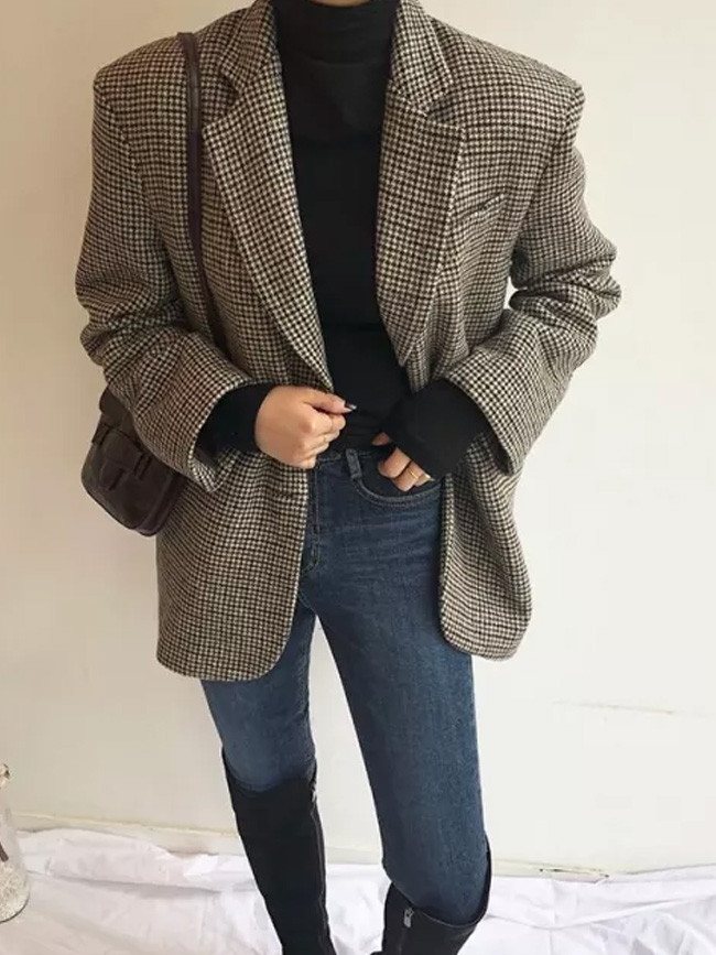 Long Sleeve Loose Casual Warm Thick Turn-down Collar Plaid Woolen Coat