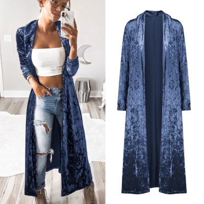 Velvet trench coat women's long-sleeved cardigan jacket