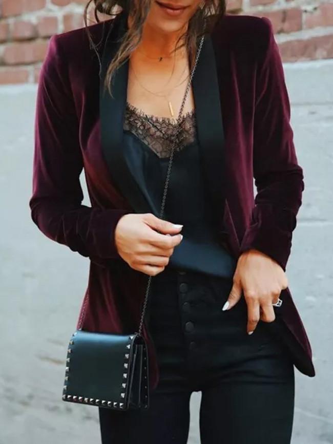 Velvet Suit Long Sleeve Wine Red Jacket Lapel