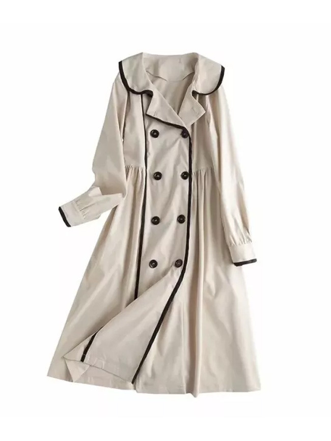 Long Coat Lapel Collar Double Breasted High Waist Trench Coat Jackets