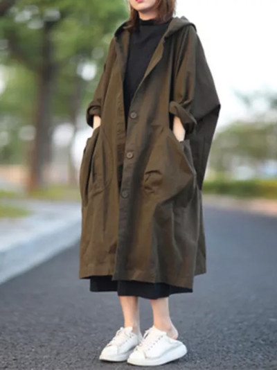 Single Breasted Hooded Long Coat Big Pocket Loose Casual Solid Trench Coats