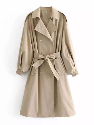 Long Trench Coat Lapel Collar Long Sleeves