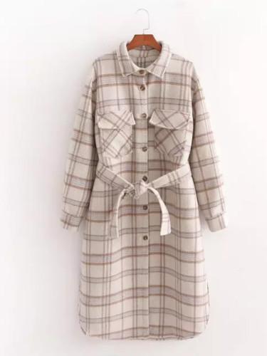 Checked Casual Fashion Women Long Jacket Belted windbreaker Outerwear