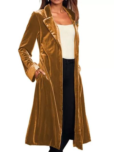 Casual Long Coat Cardigan Long Sleeve Gold Velvet Coat