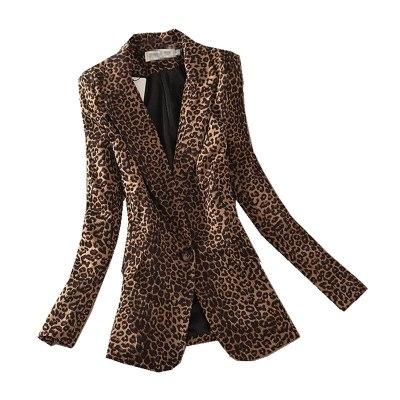 Women Leopard Long Sleeve Suit Coat