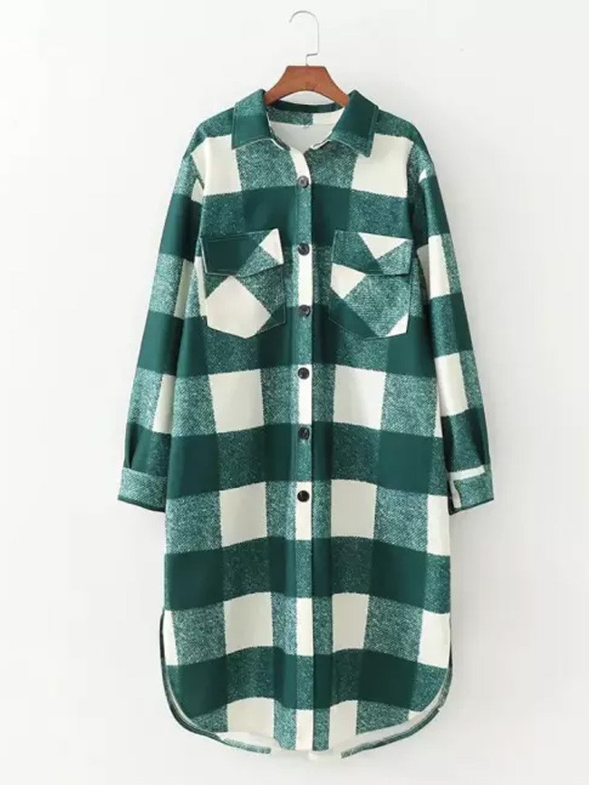 Long Checked Casual Fashion Chic Women Jackets Long windbreaker Outfits