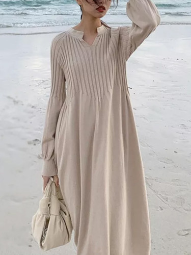 Retro girl chic knitting v-neck long sleeve basic dress