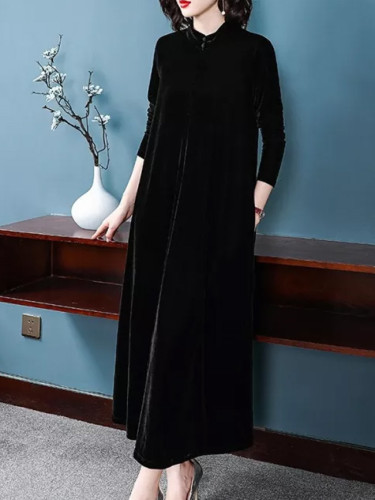 Stand Collar Elegant Maxi Dress Spring Winter velvet Dress