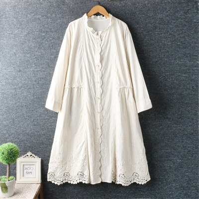 Cotton Single Breasted Long Sleeve Dress